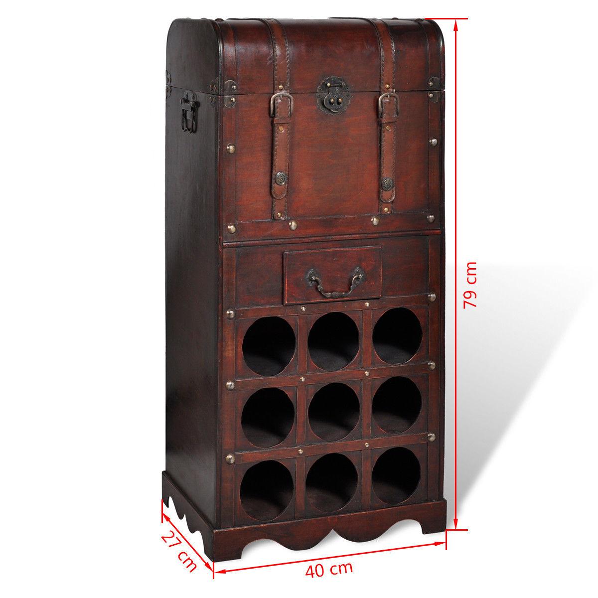 Dřevěný stojan na 9 lahví vína, úložná truhla se zásuvkou